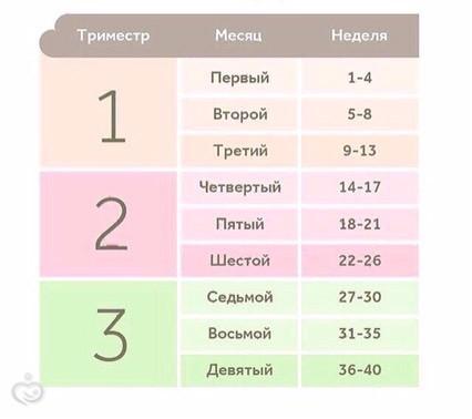 Беременность по неделям таблица